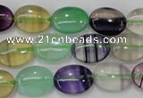 CFL777 15.5 inches 13*18mm oval rainbow fluorite gemstone beads