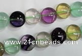 CFL783 15.5 inches 10mm flat round rainbow fluorite gemstone beads
