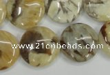 CFS204 15.5 inches 20mm flat round natural feldspar gemstone beads