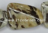 CFS207 30*40mm twisted rectangle natural feldspar gemstone beads