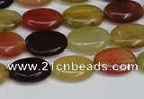 CFW128 15.5 inches 13*18mm flat oval flower jade gemstone beads