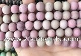 CFW39 15.5 inches 12mm round matte pink wooden jasper beads