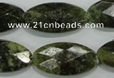 CGA111 15.5 inches 15*30mm faceted oval natural green garnet beads