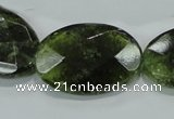 CGA112 15.5 inches 20*30mm faceted oval natural green garnet beads