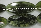 CGA113 15.5 inches 20*40mm faceted oval natural green garnet beads