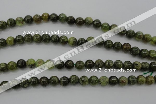 CGA132 15.5 inches 8mm round natural green garnet beads wholesale