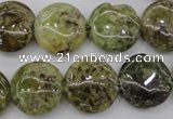 CGA143 15.5 inches 16mm flat round natural green garnet beads wholesale