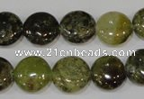 CGA213 15.5 inches 14mm flat round natural green garnet beads
