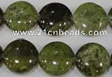 CGA214 15.5 inches 16mm flat round natural green garnet beads