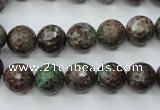 CGA314 15.5 inches 12mm faceted round red green garnet gemstone beads