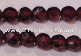 CGA361 14 inches 4mm faceted round natural red garnet beads wholesale
