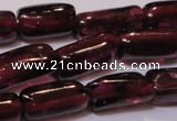 CGA367 15 inches 3*7mm tube natural red garnet beads wholesale