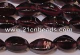 CGA377 15 inches 4*7mm twisted rice natural red garnet beads wholesale