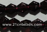 CGA411 15.5 inches 8*9mm hexagon natural red garnet beads wholesale