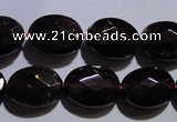 CGA414 15.5 inches 9*12mm faceted oval natural red garnet beads wholesale