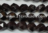 CGA450 15.5 inches 6mm faceted nuggets natural red garnet beads