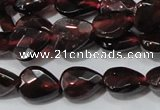 CGA483 15.5 inches 6*8mm faceted flat teardrop natural red garnet beads