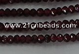 CGA517 15.5 inches 2*3mm faceted rondelle red garnet beads