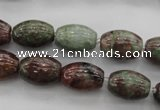 CGA53 15.5 inches 10*14mm drum red green garnet gemstone beads