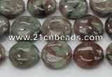 CGA59 15.5 inches 14mm flat round red green garnet gemstone beads
