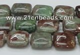 CGA62 15.5 inches 14*14mm square red green garnet gemstone beads