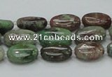 CGA65 15.5 inches 10*14mm oval red green garnet gemstone beads