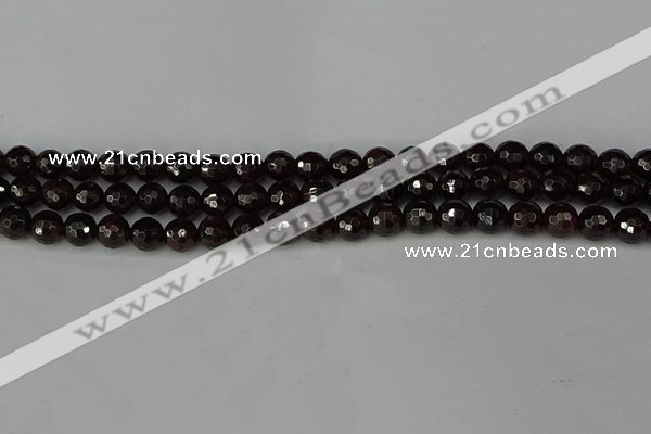 CGA662 15.5 inches 6mm faceted round red garnet beads wholesale