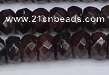 CGA679 15.5 inches 5*9mm faceted rondelle red garnet beads