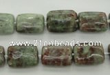 CGA74 15.5 inches 10*14mm rectangle red green garnet gemstone beads