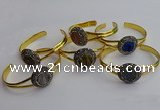 CGB2035 25mm coin plated druzy agate bangles wholesale