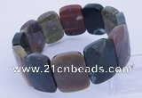 CGB248 8 inches 18*25mm faceted rectangle Indian agate gemstone bracelet