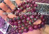 CGB2530 7.5 inches 12mm round ruby zoisite beaded bracelets