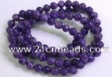CGB2570 7.5 inches 8mm round charoite gemstone beaded bracelets