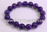 CGB2573 7.5 inches 12mm round charoite gemstone beaded bracelets