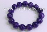 CGB2575 7.5 inches 14mm round charoite gemstone beaded bracelets
