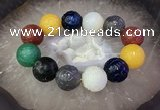 CGB3004 7.5 inches 20mm carved round mixed agate bracelet wholesale