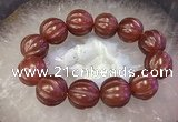 CGB3006 7.5 inches 19mm - 20mm carved round red agate bracelet