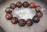 CGB3007 7.5 inches 16mm carved round agate bracelet wholesale