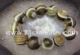CGB3010 7.5 inches 16*19mm - 20*22mm carved round agate bracelet