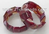 CGB3188 7.5 inches 15*25mm rectangle agate bracelets wholesale
