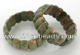 CGB3250 7.5 inches 12*25mm oval unakite gemstone bracelets