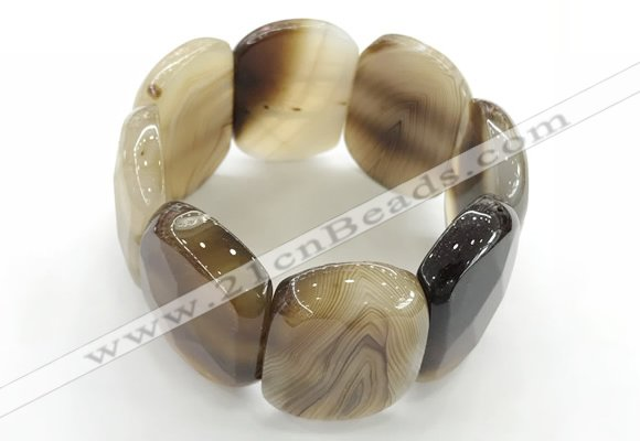 CGB3520 7.5 inches 28*40mm faceted oval agate bracelets