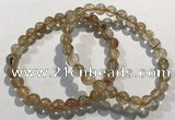 CGB4076 7.5 inches 7mm round golden rutilated quartz beaded bracelets