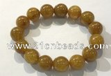 CGB4088 7.5 inches 15mm round golden rutilated quartz beaded bracelets