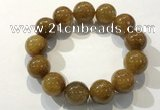CGB4089 7.5 inches 16mm round golden rutilated quartz beaded bracelets