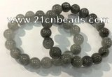 CGB4105 7.5 inches 12mm round rutilated quartz beaded bracelets
