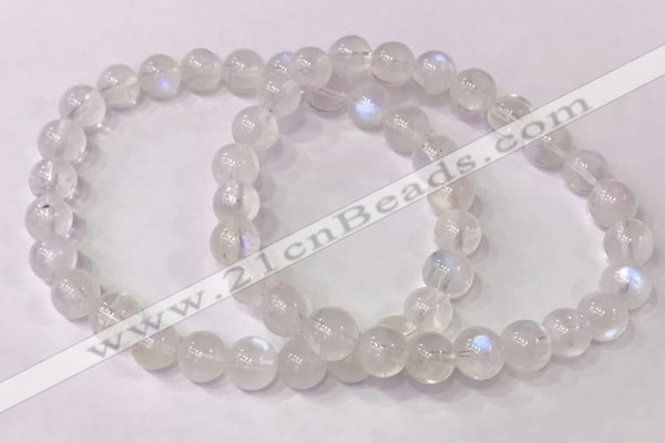 CGB4509 7.5 inches 7mm round white moonstone beaded bracelets