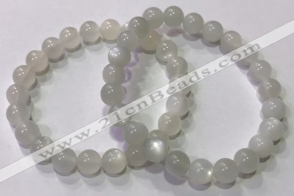 CGB4516 7.5 inches 8mm round white moonstone beaded bracelets