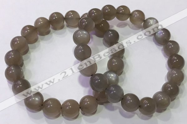 CGB4525 7.5 inches 10mm round grey moonstone beaded bracelets