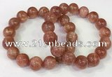 CGB4536 7.5 inches 14mm round golden sunstone beaded bracelets